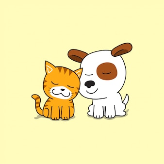 Cartoon character cute cat and dog