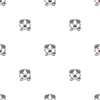Cartoon character cute cat seamless pattern