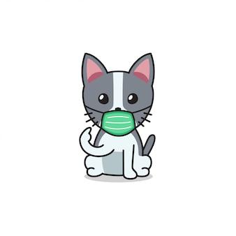 防護マスクを身に着けている漫画のキャラクターかわいい猫