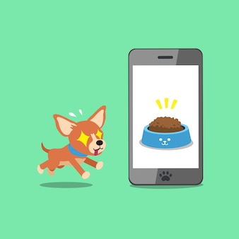 Cartoon character cute chihuahua dog and smartphone
