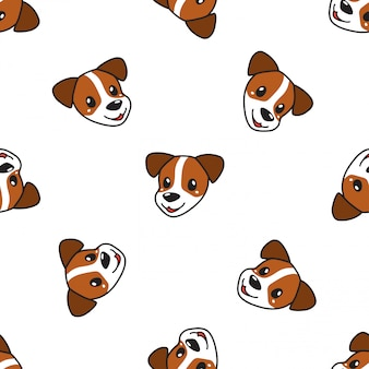 Cartoon character cute dog seamless pattern background