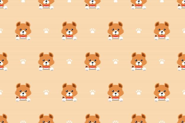 漫画のキャラクターかわいい犬のシームレスパターン背景