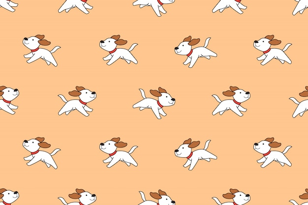 Cartoon character cute dog seamless pattern