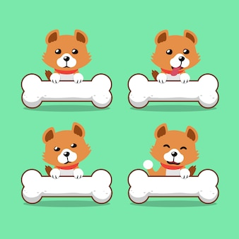 Cartoon character cute dog with big bones