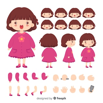 Cartoon character cute girl template