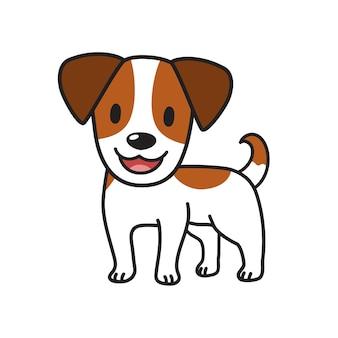 Мультипликационный персонаж милая собака джек рассел терьер для дизайна.