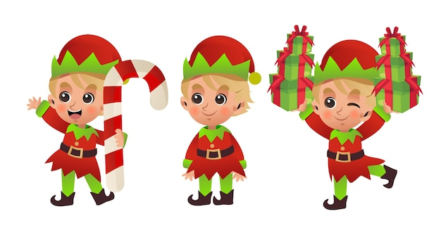 Cartoon character of cute little boy in christmas costume 'elf'. merry christmas.