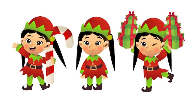 Cartoon character of cute little girl in christmas costume 'elf'. merry christmas.