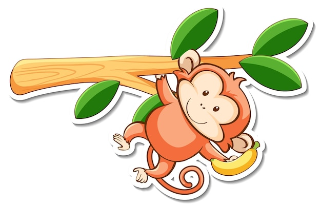 Cartoon character of cute monkey hanging on a branch sticker