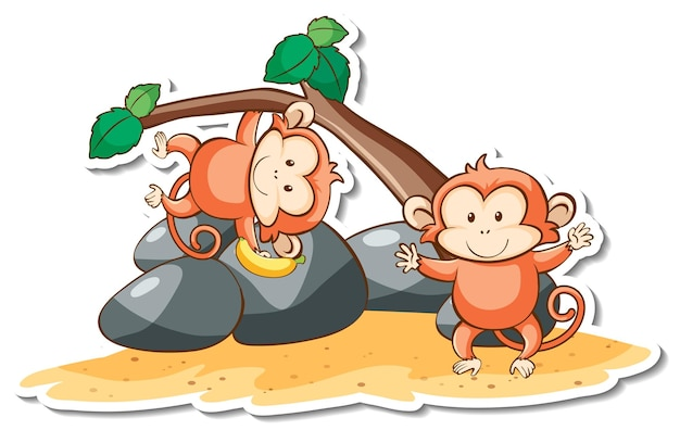 Personaggio dei cartoni animati di adesivo scimmia carino