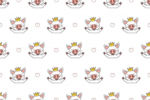 Cartoon character cute pig seamless pattern background