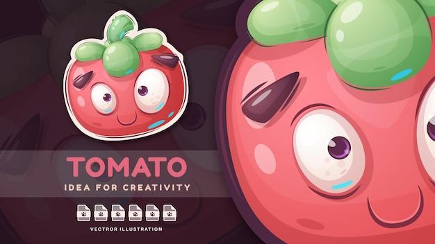 Cartoon character cute sweet tomato - cute sticker. vector eps 10