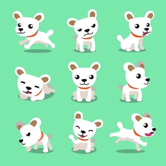 Cartoon character cute white dog poses