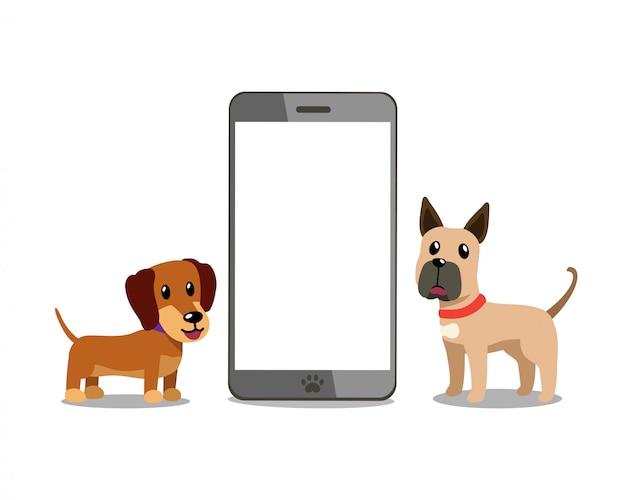スマートフォンでの漫画のキャラクターのダックスフントとグレートデーン犬