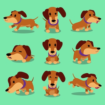 Cartoon character dachshund dog poses