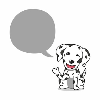 Cartoon character dalmatian dog with speech bubble for design.