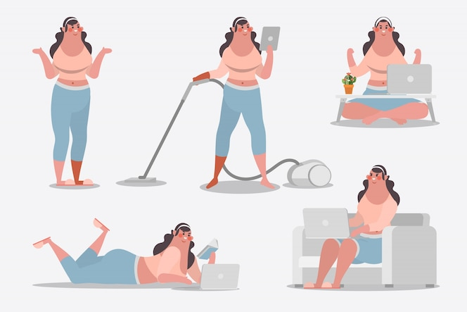 Cartoon character design illustration. young girl showing posture cleaning house use computer and read books