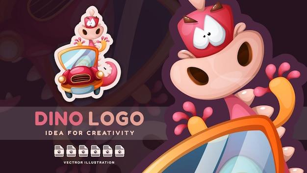 Cartoon character dino travel  cute sticker