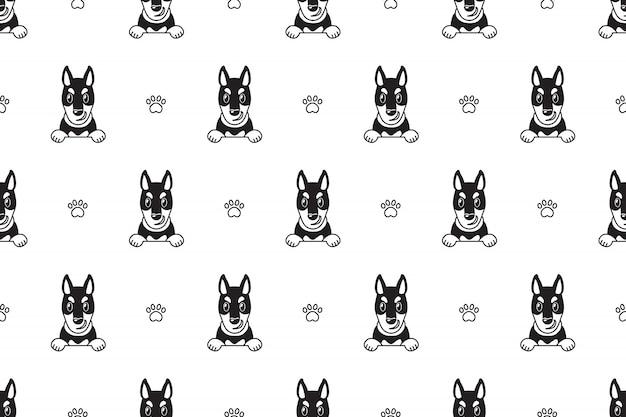 漫画のキャラクタードーベルマン犬のシームレスパターン Premiumベクター