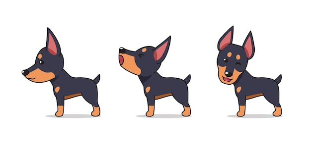 Мультяшный персонаж позы собаки добермана