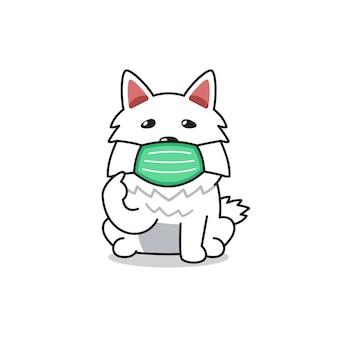 Собака персонажа из мультфильма в защитной маске для дизайна.