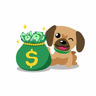 Cartoon character dog with money bag