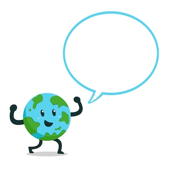 Cartoon character earth with speech bubble