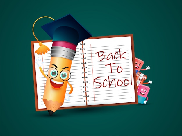 Cartoon character of education elements with mortarboard
