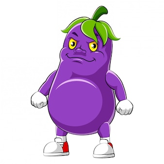 Cartoon character of an eggplant of illustration