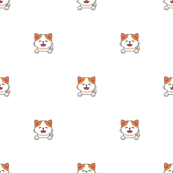 Мультипликационный персонаж экзотических короткошерстных кошек бесшовный фон фон для дизайна.
