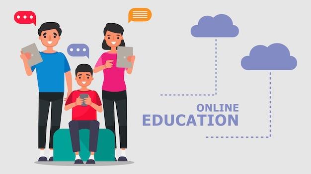 Персонаж из мультфильма семья, родители и сын концепции обучения в режиме онлайн. иллюстрация по информационным технологиям для дистанционного обучения обучение в режиме онлайн дома с эпидемической ситуацией содержание.
