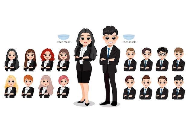 Cartoon character female and male business people smiling. hairstyle collection,  illustration