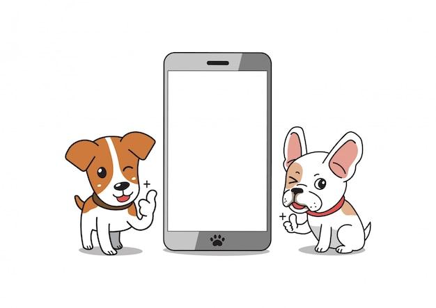 Мультипликационный персонаж французский бульдог и собака джек рассел терьер с смартфон