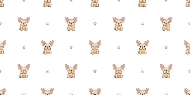 Cartoon character french bulldog dog seamless pattern background