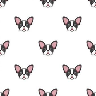Мультипликационный персонаж французский бульдог собака бесшовный фон фон