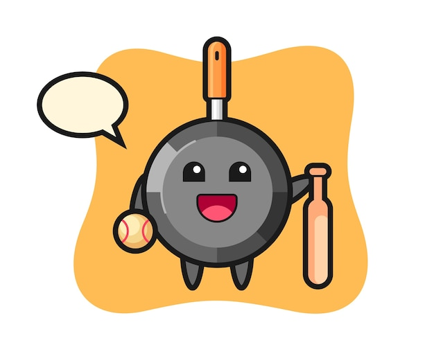 Cartoon character of frying pan as a baseball player