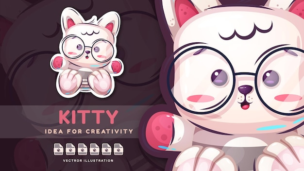 Cartoon character funny kitty  childish sticker