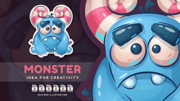 만화 캐릭터 재미있는 괴물 귀여운 스티커