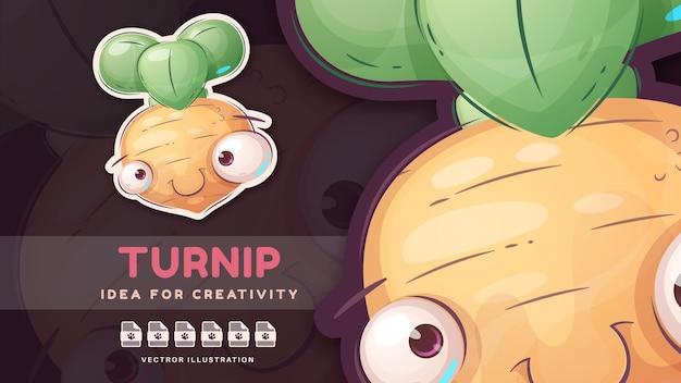 Cartoon character funny turnip - cute sticker. vector eps 10