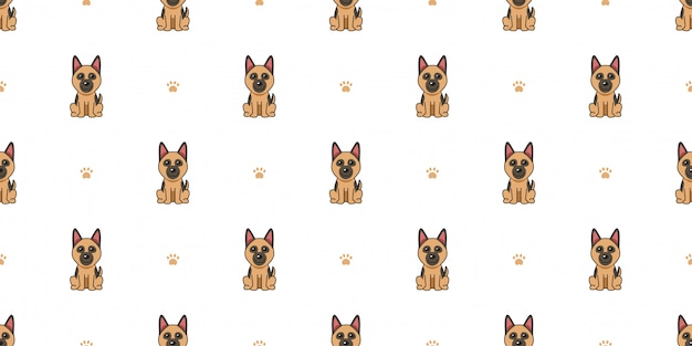 Cartoon character german shepherd dog seamless pattern background