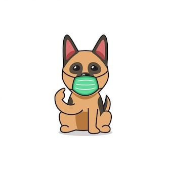 Cartoon character german shepherd dog wearing protective face mask