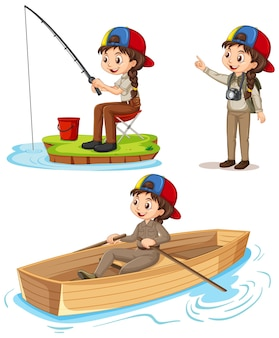 Cartoon character of a girl in camping outfits doing different activities
