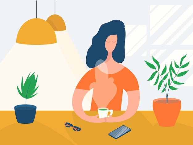 Cartoon character girl drinking hot tea coffee sitting at a table in a cafe. concept relaxing woman in a modern interior with lamps and plants