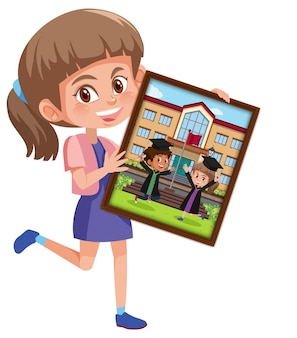 Cartoon character of a girl holding her graduation photo
