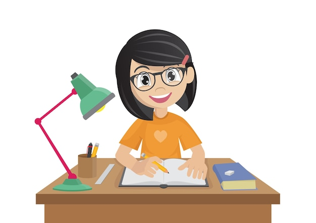Cartoon character, girl makes a homework