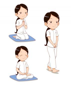 Cartoon character of girl meditating, observe buddhist precepts.