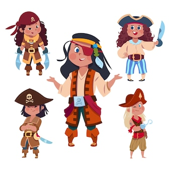 Cartoon character girl pirates isolated set