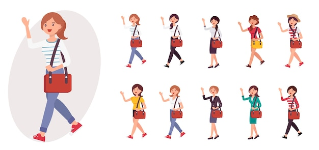 Cartoon character girl wave hand saying hello collection