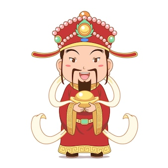 Cartoon character of god of wealth holding gold ingot for chinese new year celebration.