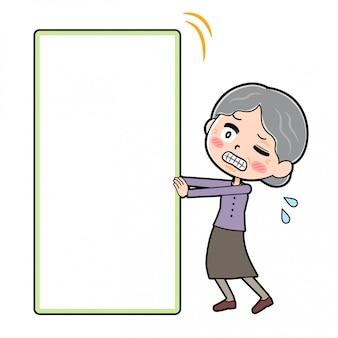 Cartoon character grandma, board push